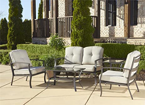 Cosco Outdoor 5 Piece Serene Ridge Aluminum Patio Furniture Conversation  Set With Cushions And Coffee Table