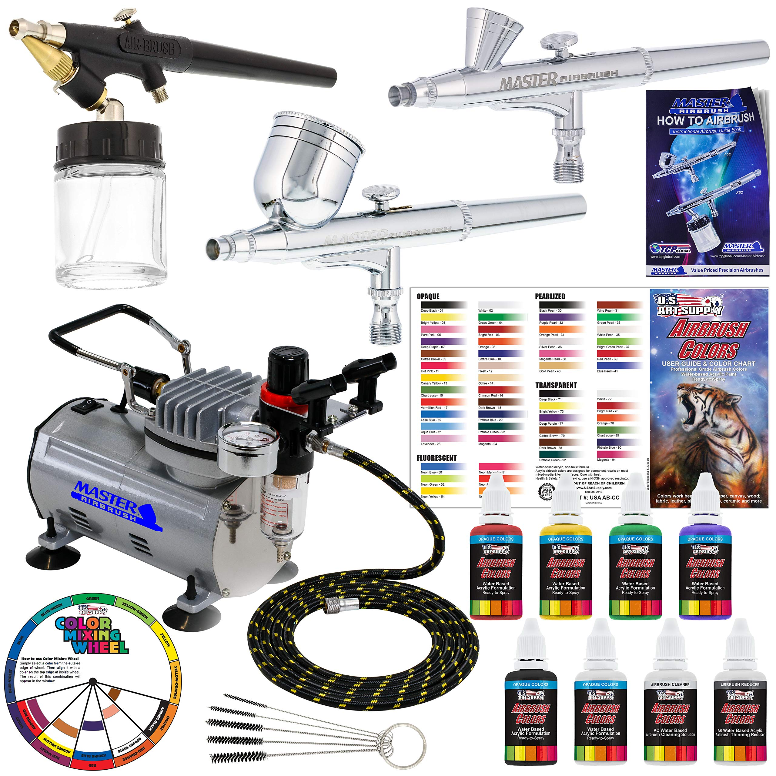 3 Airbrush Professional Master Airbrush Multi-Purpose Airbrushing System Kit with 6 Primary Opaque Colors Acrylic Paint Artist Set - G22, G25, E91 Gravity & Siphon Feed Airbrushes and Air Compressor by Master Airbrush
