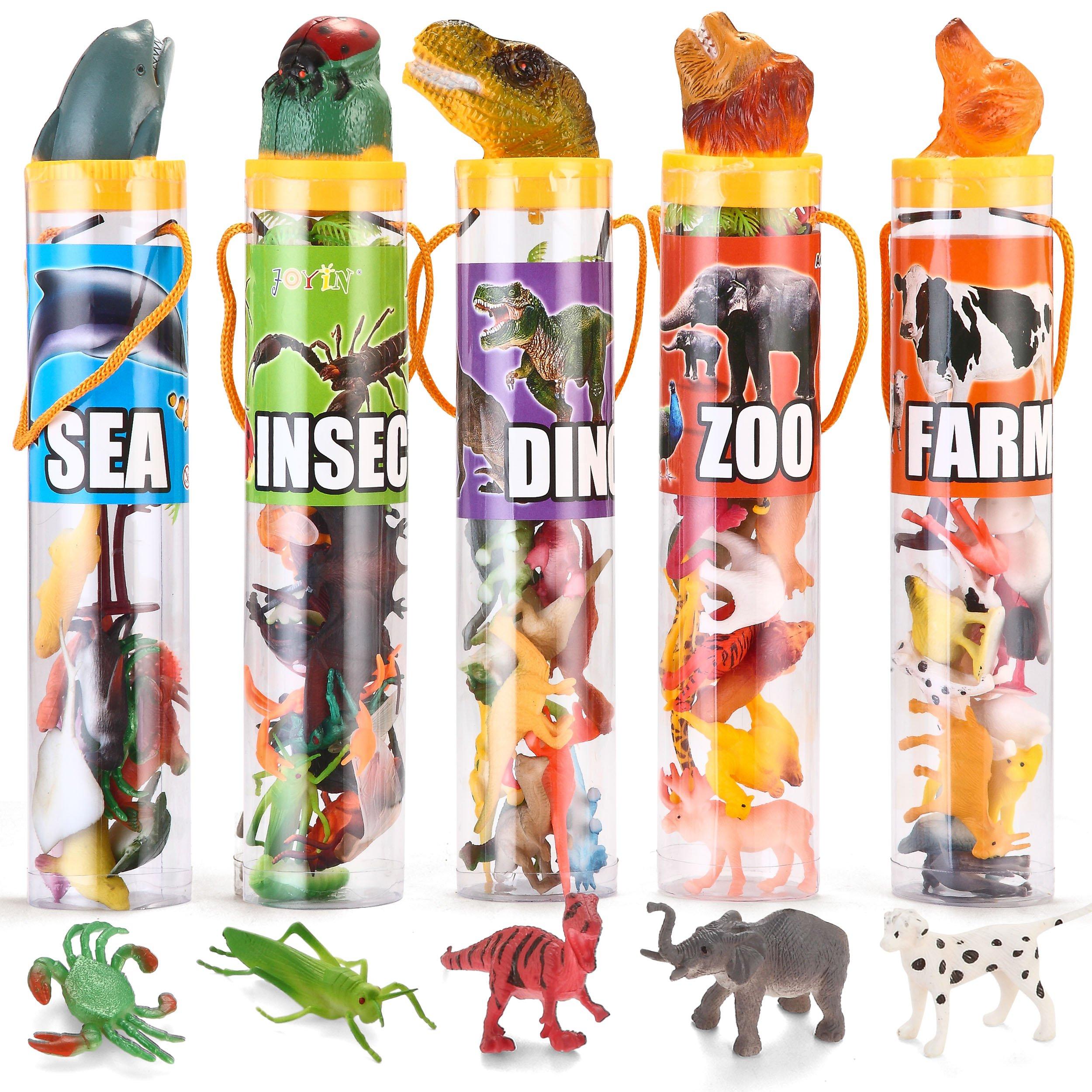 Joyin Toy 69 Pieces Natural World Animal Dinosaur Insect Sea Animal Farm Animal Figures Easter Basket Stuffer Mini Plastic Vinyl Assorted Figures Playset