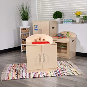 Flash Furniture Children's Wooden Kitchen Sink for Commercial or Home Use - Safe, Kid Friendly Design