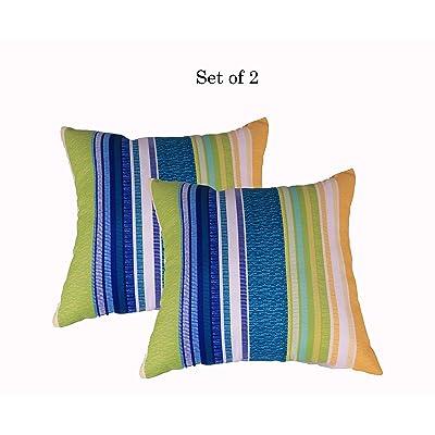 """Comfort Classics Inc. (Set of 2 Indoor/Outdoor Pillow 16"""" x 16"""" x 7"""" in Polyester in Multi Stripe : Garden & Outdoor"""