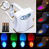 Toilet Night Light with Motion Detection Sensor, AAA Duracell Batteries, 3M Sticky Pads for extra grip for LED Bathroom Nightlight