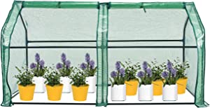 SUNGIFT Mini Greenhouse for Outdoors, Portable Hot House, Large Roll-up Doors with Zipper, PE Garden Bed Cover for Plants, 71 X 36 X 36 Inch