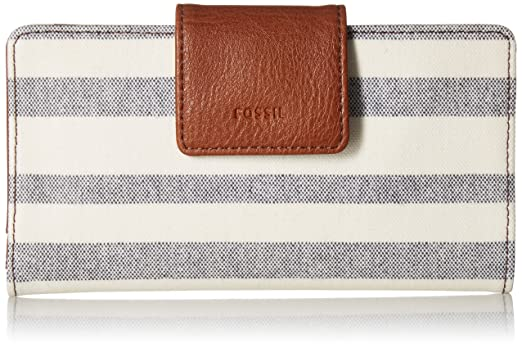 5dfc1cb271e7 Amazon | Fossil Women's Emma Rfid Tab Wallet Leather Clutch - Blue/White  Stripe | FOSSIL(フォッシル) | FOSSIL(フォッシル)