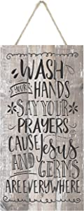 MRC Wood Products Wash Your Hands and Say Your Prayers Cause Jesus and Germs are Everywhere Rustic Wooden Plank Sign 5x10