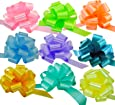 "Easter Gift Basket Pull Bows - 5"" Wide, Set of 9, Pink, Green, Blue, Lavender, Yellow, Pastel Colors, Decor for Christmas Presents"