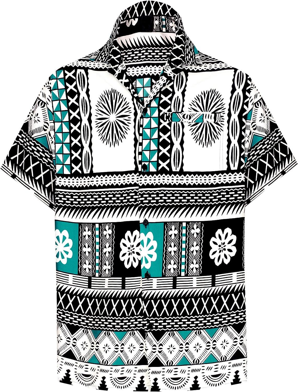 LA LEELA el Hawaiano de los Hombres botón de la Manga Corta hacia Abajo Aloha