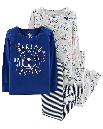 29c041f489cc Amazon.com  Carter s Girls Pajamas PJs 4pc Cotton Snug Glitter Puppy ...