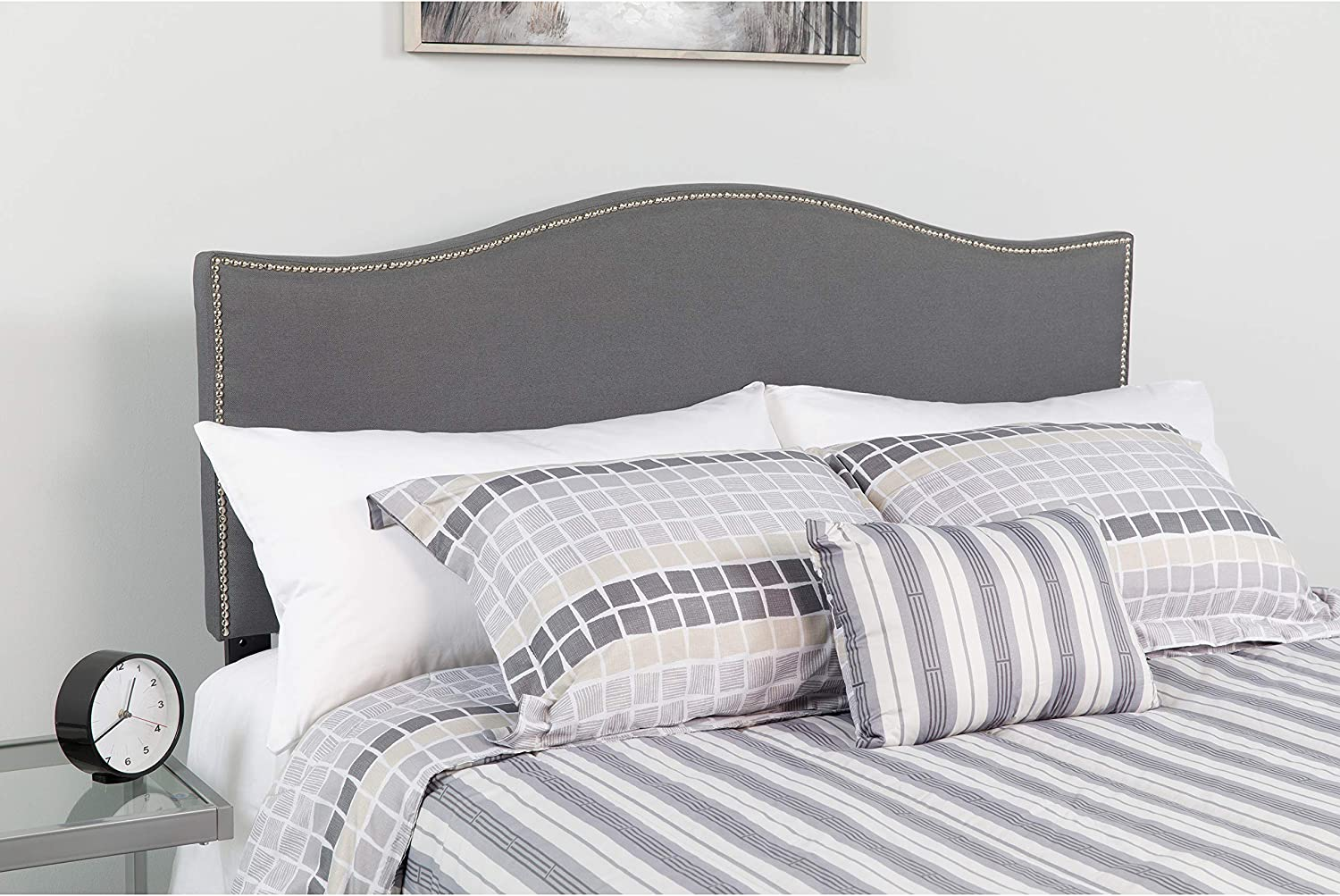 Flash Furniture Lexington Upholstered King Size Headboard with Accent Nail Trim in Dark Gray Fabric
