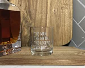 The Man The Myth The Legend Engraved Whiskey Glass Funny Glassware Wedding birthday party christmas graduation wine lover