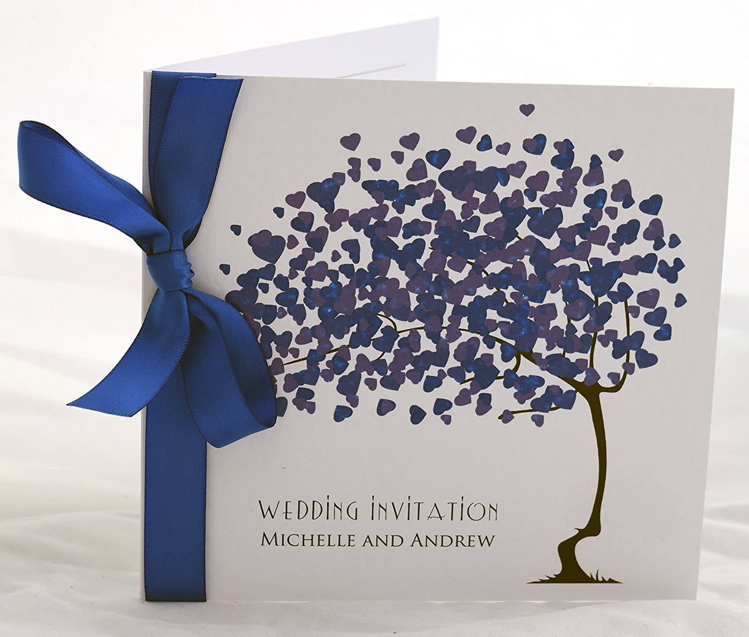 Love BLossoms Wedding Invitations Personalised with Ribbon Available in Many Colours Blue Teal Organza