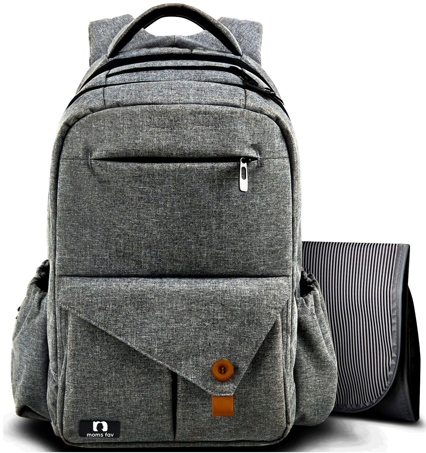 MOMS FAV Multi-function L-Grey Large Baby Diaper Bag Backpack W/Stroller Straps-Insulated Bottle Pockets-Changing Pad, High Quality Nylon Fabric Waterproof for Moms & Dads