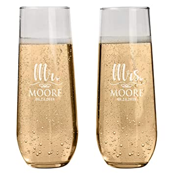 Amazon Set Of 2 Personalized Stemless Champagne Flutes Wedding