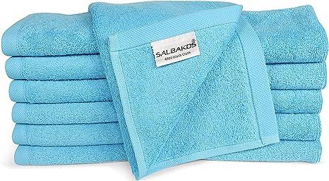 Amazon Com Luxury Hotel Spa Turkish Cotton 12 Piece Washcloth Set For Bath Aqua Home Kitchen