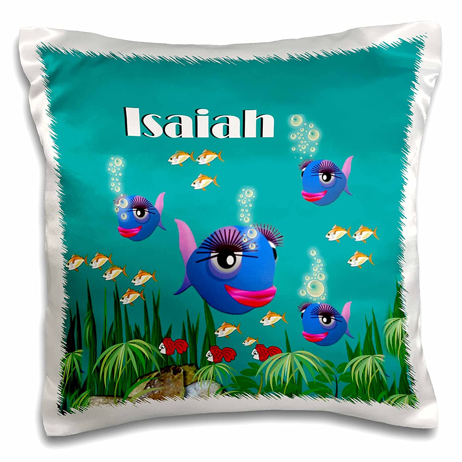 pc/_51205/_1 16x16 inch Pillow Case 3dRose SmudgeArt Male Child Name Design This Vibrant Artwork of Fish Under The sea is Personalized with The Name Isaiah