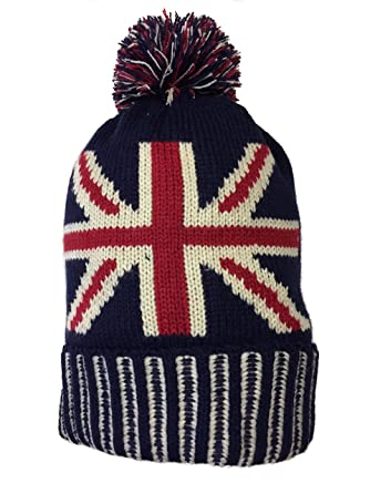 d8894138d3a Womens Hats Mens Woolly Hats Bobble Pom Pom Hat Union Jack Flag Knitted  Striped London Souvenir Winter Beanie  Amazon.co.uk  Clothing