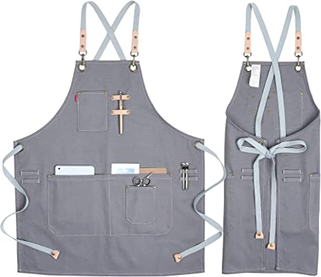 Coolyouth Cotton Apron For Men Women Chef Bbq Grill Work Shop Aprons With Adjustable Strap Grey Home Kitchen