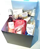 Luxury Chocolates & Wine Gift Box - Finest Lindt Lindor, Ferrero Rocher, Guylian Mini's With Blossom Hill White + Rose
