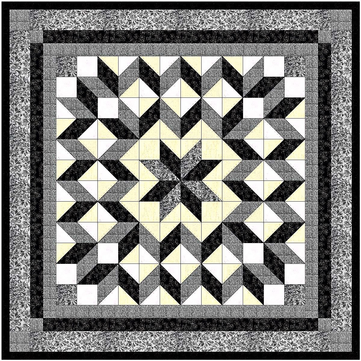 Easy Quilt Galaxy Star Black and White Nuetrals/EXPEDITED SHIPPING Galaxy/RJR