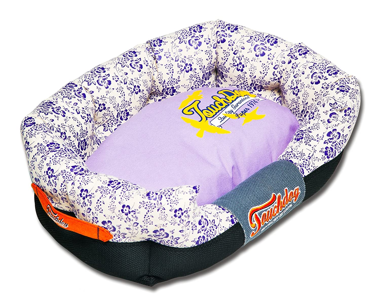 TOUCHDOG 'Floral-Galoral' Ultra-Plush Rectangular Rounded Fashion Designer Pet Dog Bed Lounge, Medium, Lavender Purple, Cream White