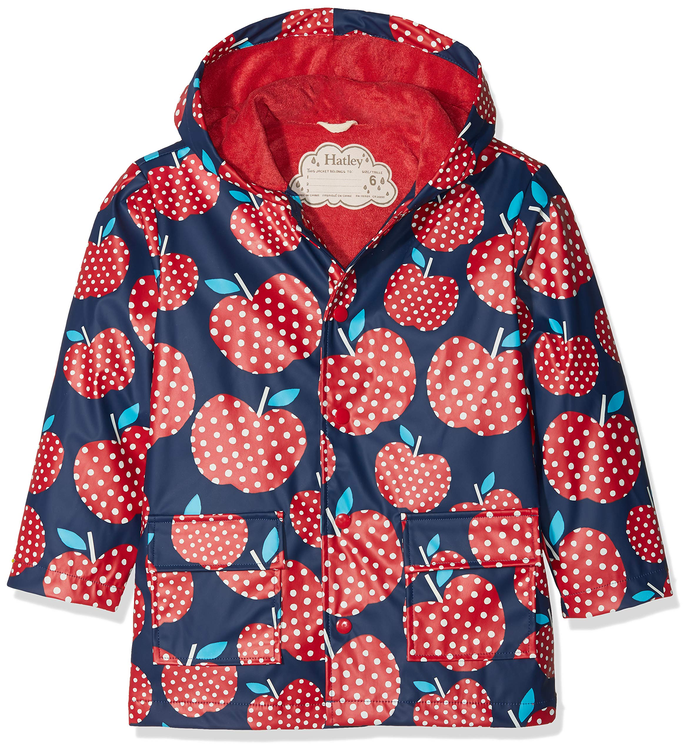 Hatley Girls' Little Printed Raincoats, Polka dot Apples, 2