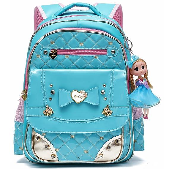 Mochila escolar adorable de Barbie Doll Princess Schoolbag para niñas de escuela primaria (Cielo azul -Grande): Amazon.es: Equipaje