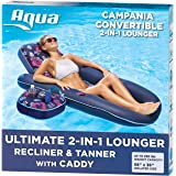 Aqua Campania Ultimate 2 in 1 Recliner & Tanner Pool Lounger with Adjustable Backrest and Caddy, Inflatable Pool Float…