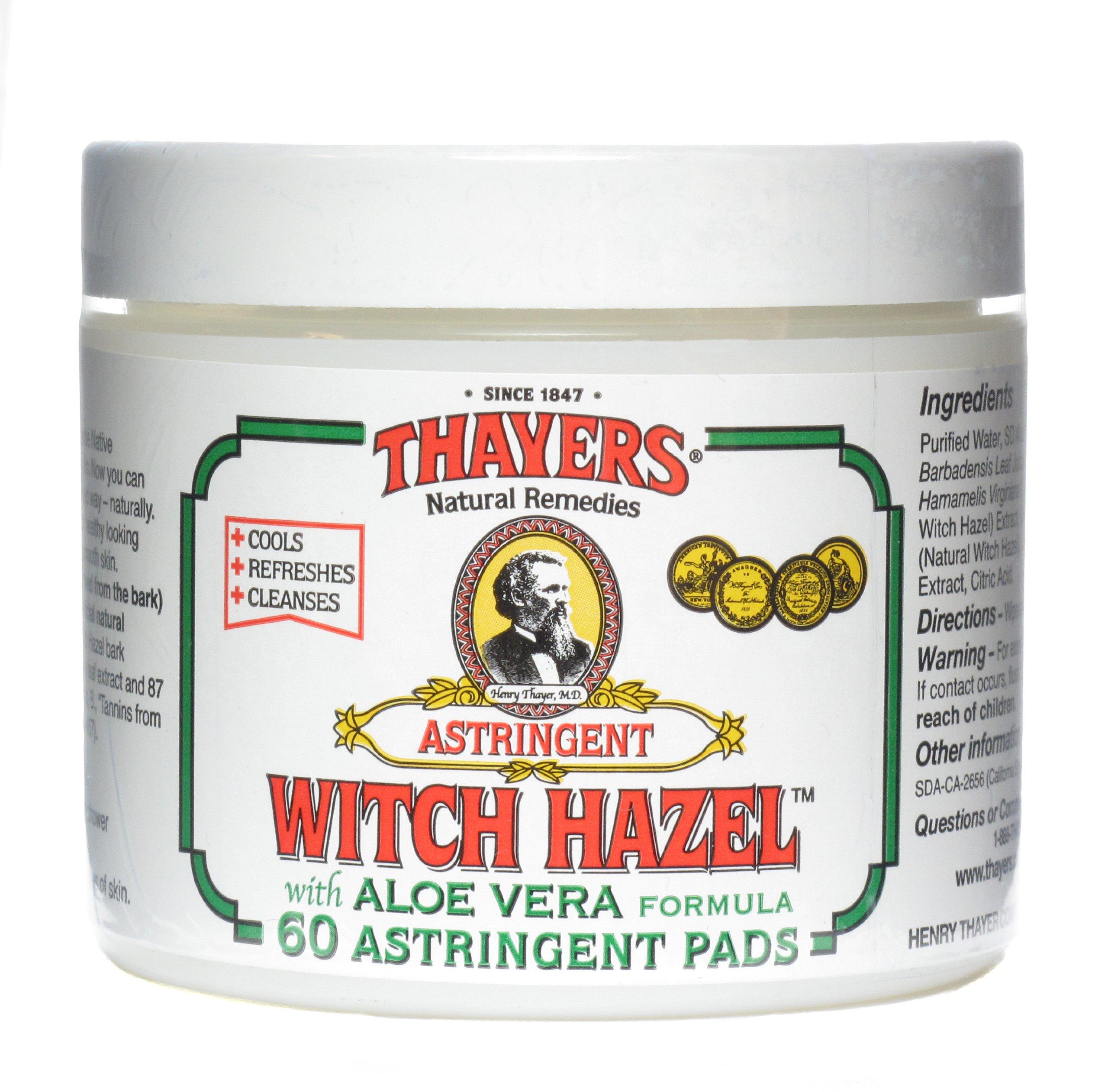 Thayers Original Witch Hazel Astringent Pads With Aloe Vera Formula - 60 Ct