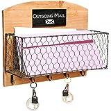 Country Rustic Wood & Metal Wire Wall Mounted Mail Sorter / Hanging Storage Rack w/ Key Hooks, Chalkboard