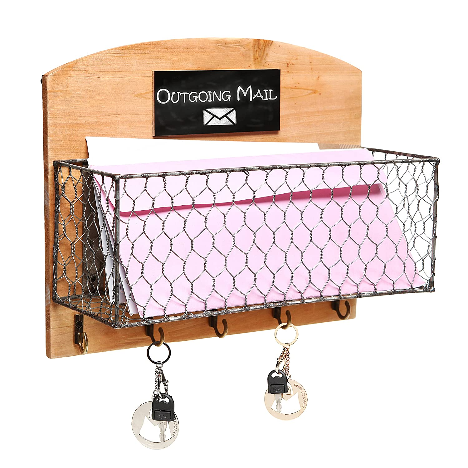 Top Amazon.com: Country Rustic Wood & Metal Wire Wall Mounted Mail  LC21