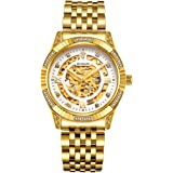 BINLUN Men's Women's Gold Automatic Luxury Skeleton Watches Gift to Father