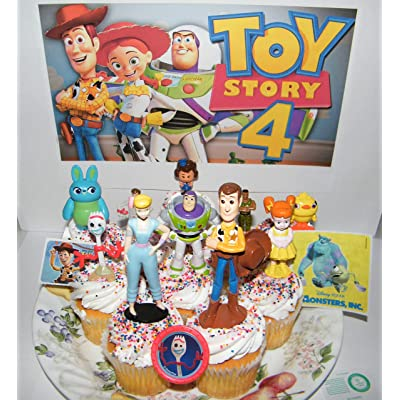 Toy Story 4 Movie Deluxe Cake Toppers Cupcake Decorations 13 Set with 10 Figures, Movie Stickers and TSRing Featuring Woody, Buzz and All new characters like Forky!: Toys & Games