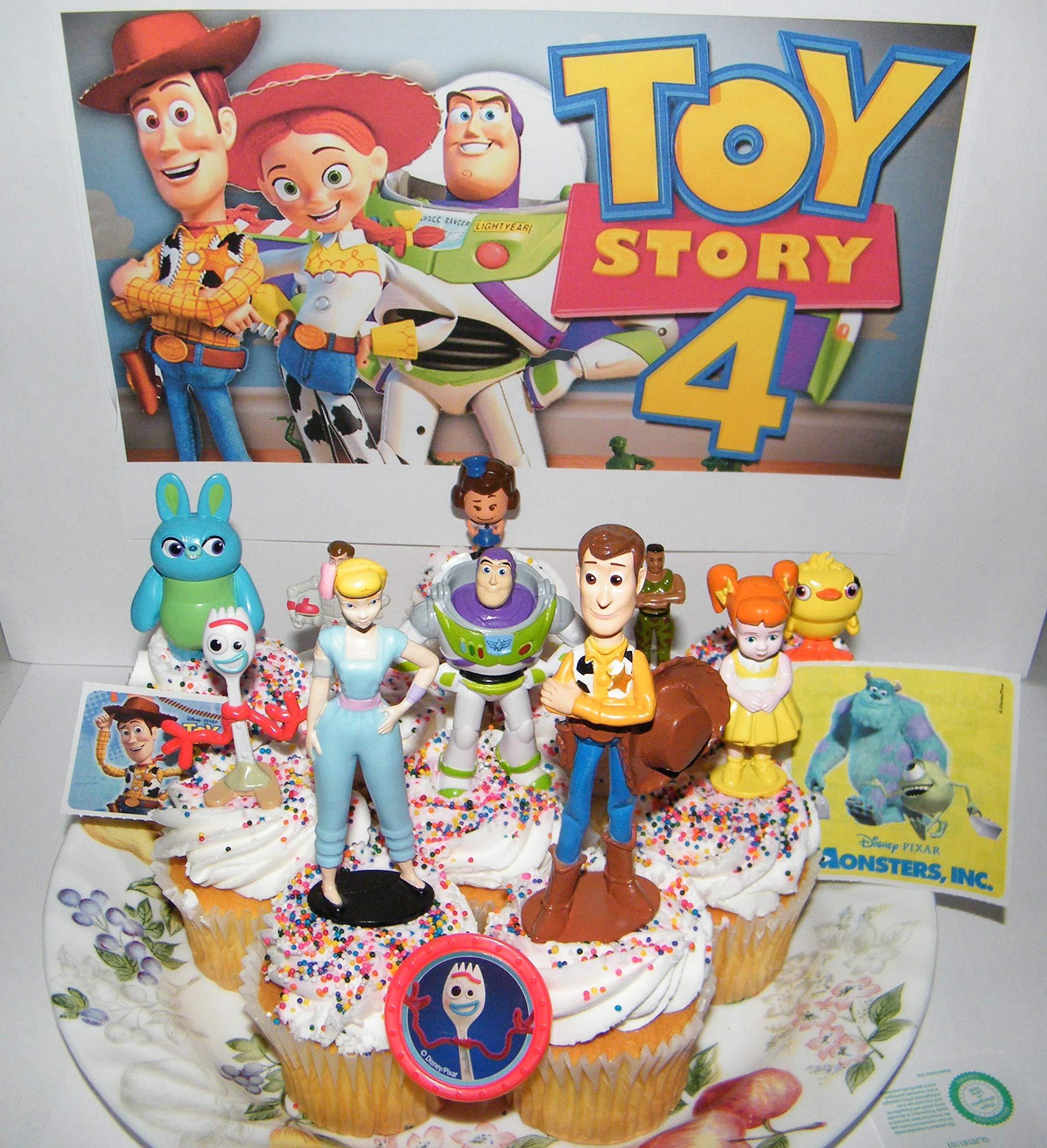 Toy Story 4 Movie Deluxe Cake Toppers Cupcake Decorations 13 Set with 10 Figures, Movie Stickers and TSRing Featuring Woody, Buzz and All new characters like Forky! by Party Fun