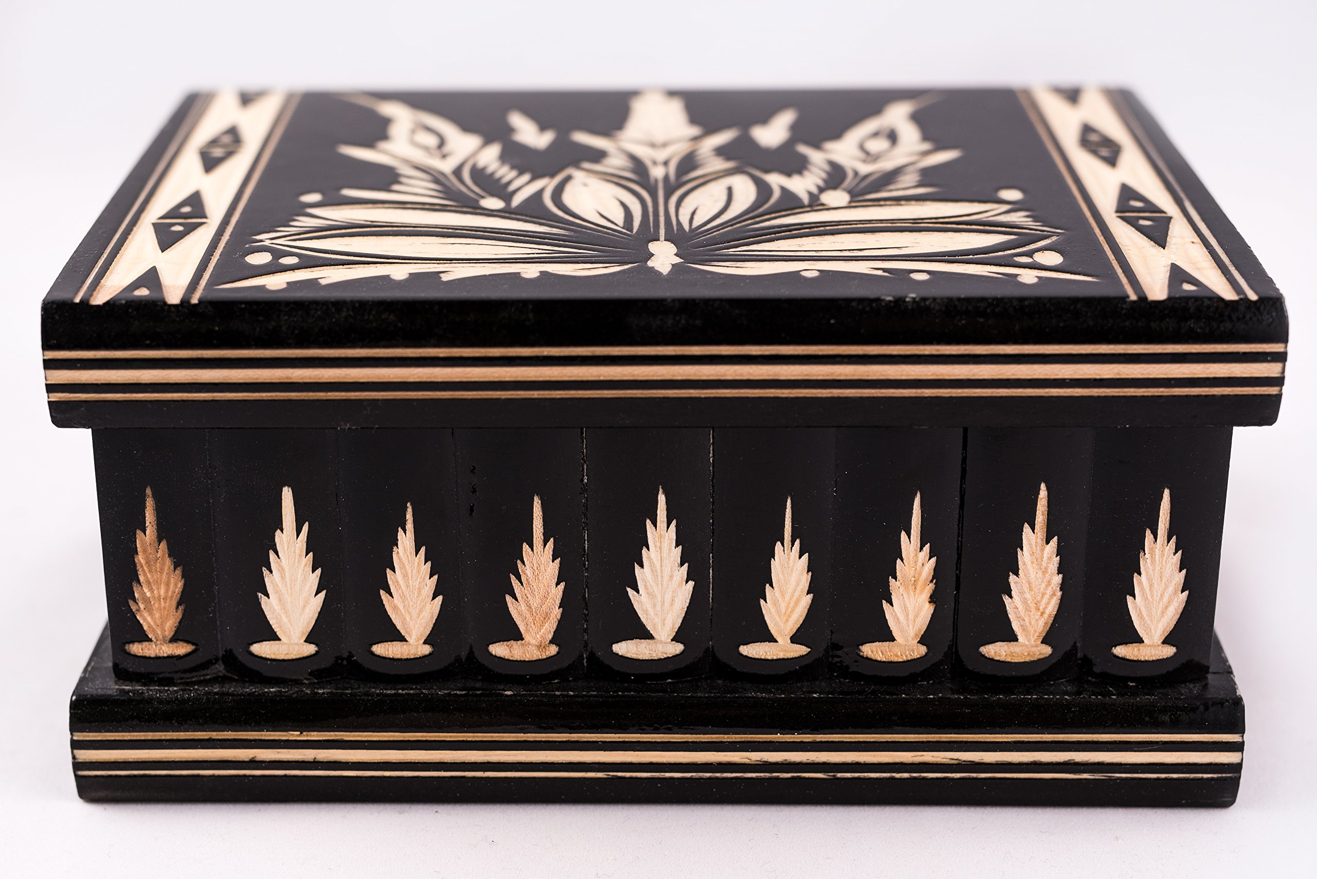 Handmade Wooden Puzzle Boxes with Hidden Compartment (Large) - Top Quality Elegant Box with Easy Open/Closing Mechanism - Decorative Storage Box for Jewelry, Toys, Puzzles - Great Gift Black