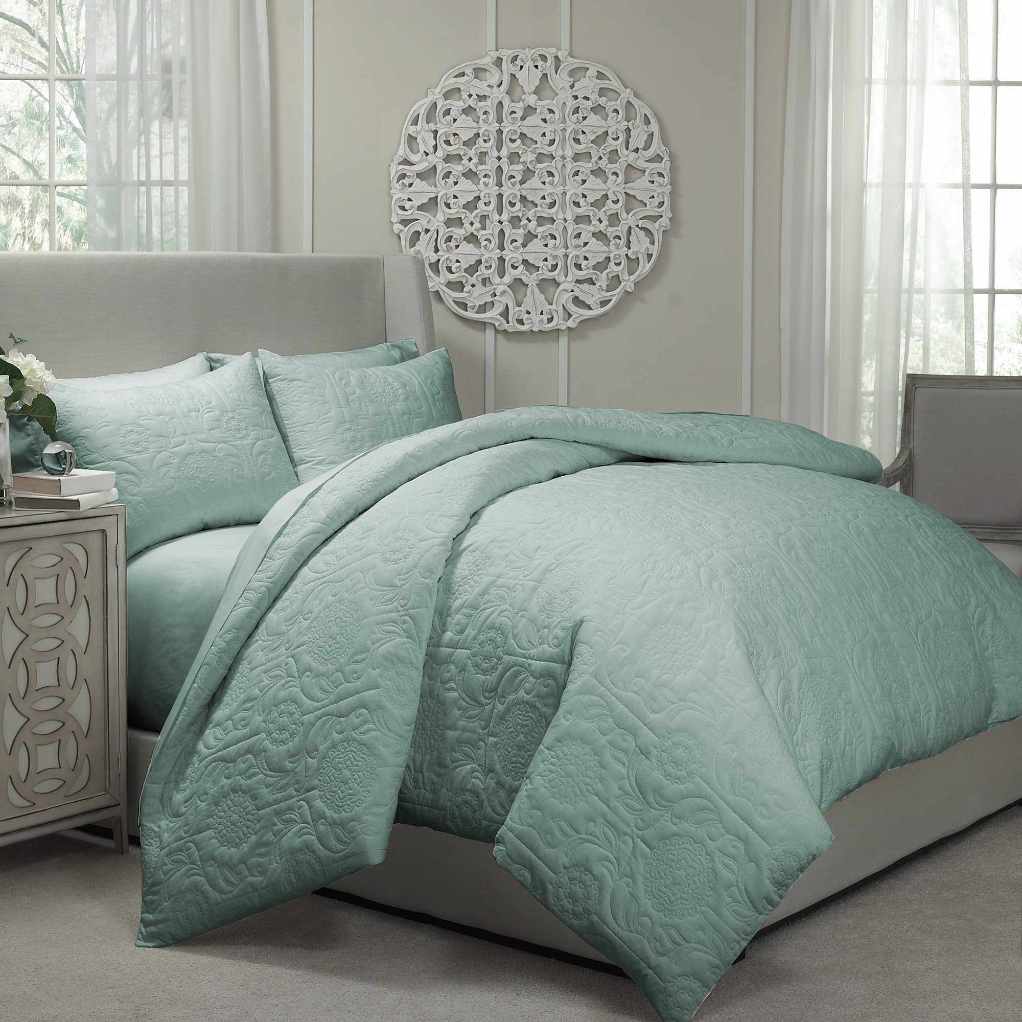 Vue 13811BEDDKNGSPA Barcelona Quilted Coverlet & Duvet Ensemble, Spa, King