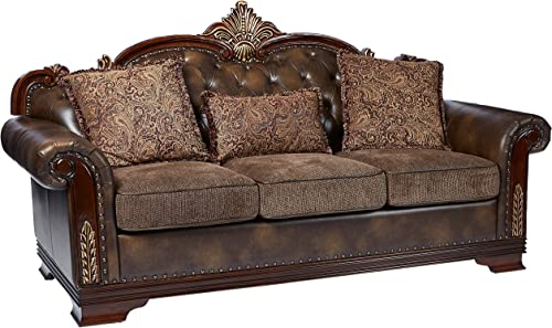 Homelegance 9815-3 Croydon Traditional Two-Tone Sofa, 86 W, Brown PU Leather