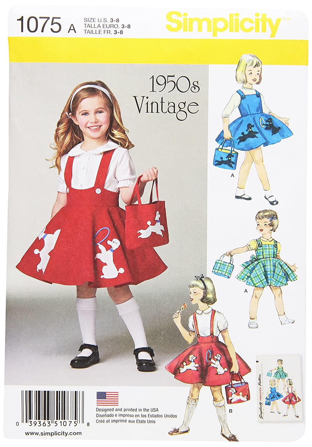 Simplicity 1075 Child's Jumper, Skirt & Bag Sewing Template, Size A (3-4-5-6-7-8) Outlook Group