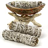 """Premium Abalone Shell with Natural Wooden Tripod Stand and 3 California White Sage Smudge Sticks. Alternative Imagination Brand. (5"""" - 6"""" Abalone Shell)"""