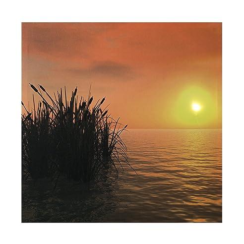 Strandkorb sonnenuntergang  LED Bild Sonnenuntergang , See ,Bild, LED Stimmungsbild mit 1 LED ...