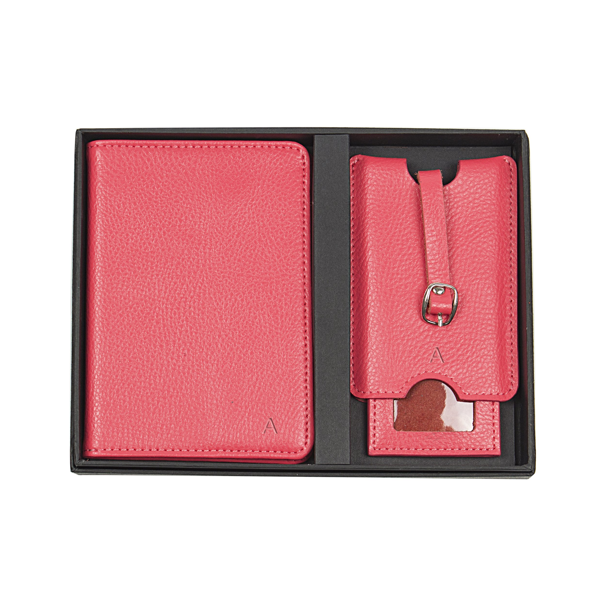 Cathy's Concepts Personalized Leather Passport Holder & Luggage Tag Set, Pink, Letter A