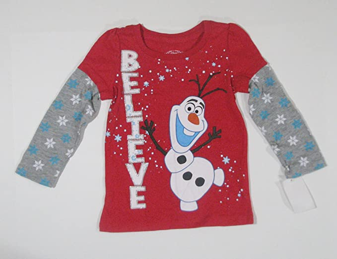 "e907105a60fa Image Unavailable. Image not available for. Color: Disney Frozen Olaf  "" Believe"" Long-Sleeve Shirt 4T"