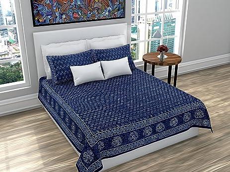 Amazon Com Indigenous Handicrafts Dabu Printed Double Cotton Blue