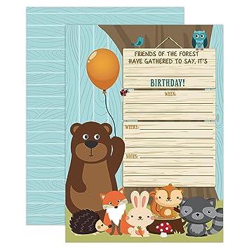 amazon com your main event prints woodland birthday invitation boy