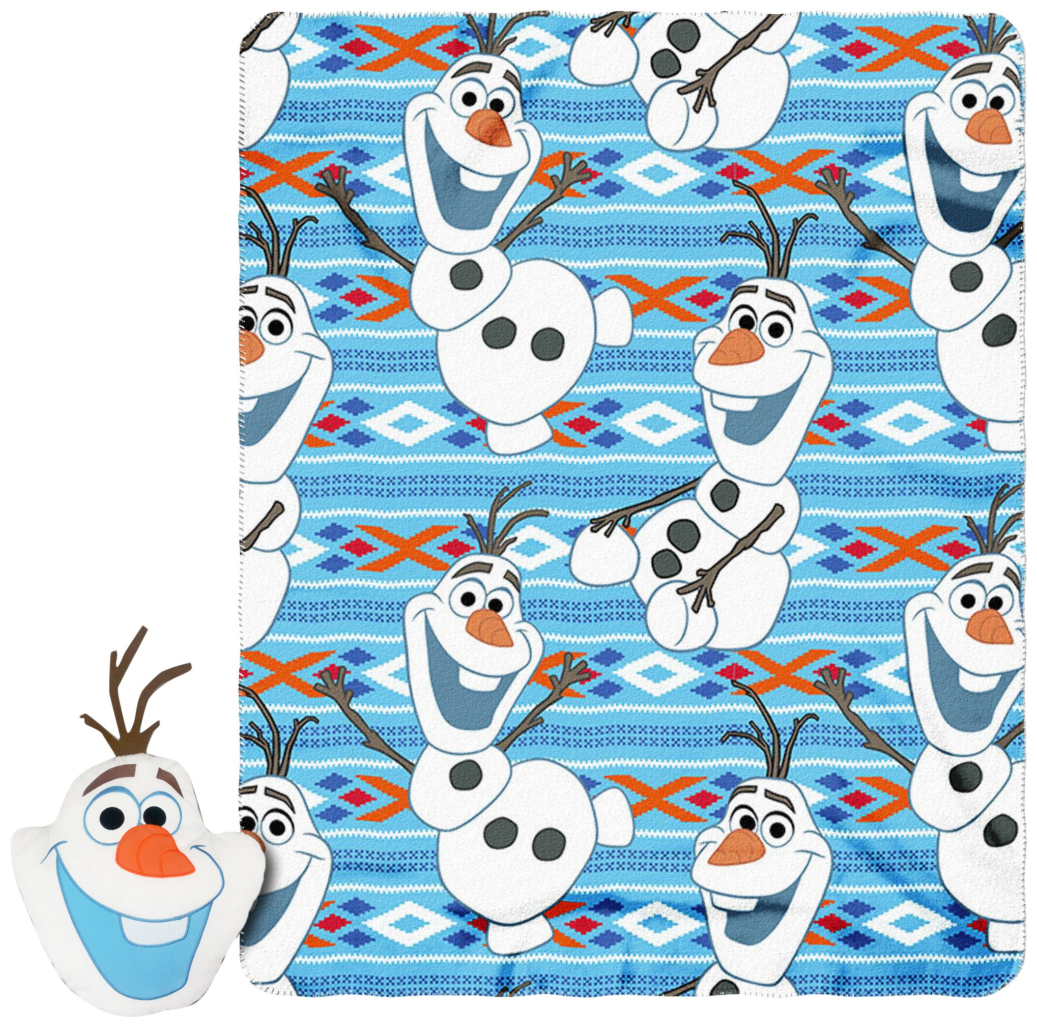 Disney Frozen''''Big Face Olaf'' Character Pillow and Fleece Throw Blanket Set, 40'' x 50'', Multi Color by Disney