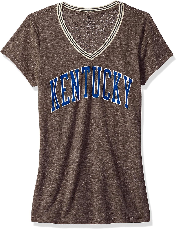Graphite Heather Antique White J Medium America NCAA Kentucky Wildcats Womens NCAA Womens Tipped V-Neck Tee