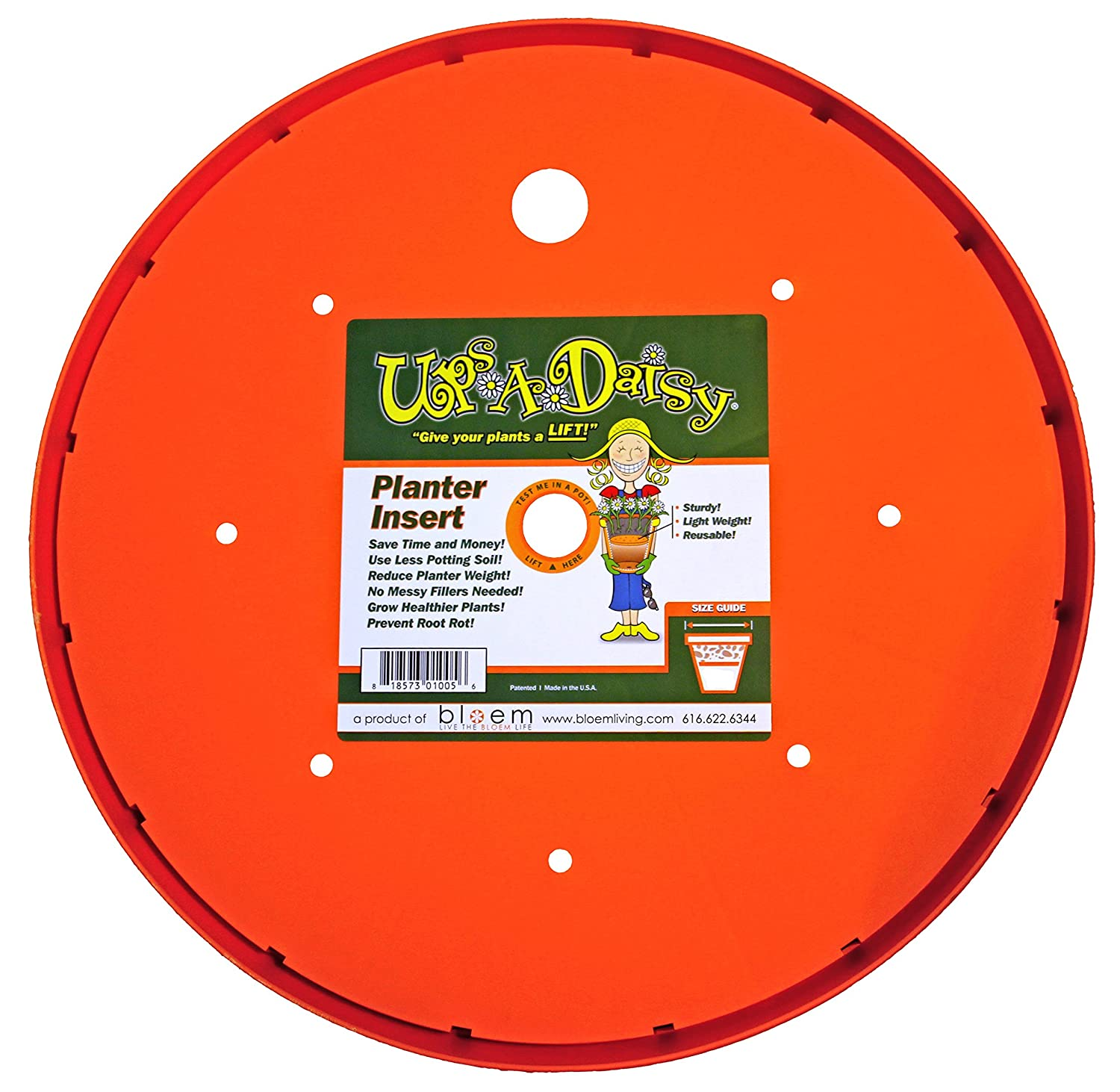 Bloem Living T6320 Up's A Daisy Planter Insert, 10-Inch, Orange