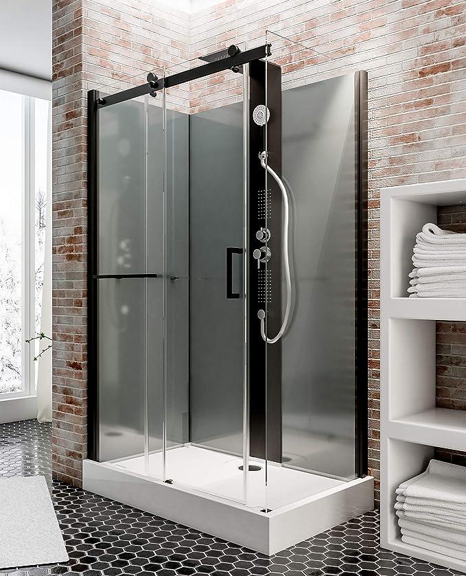 Cabina de ducha completa Korsika, cabina de ducha integral con puerta corredera, chorros de masaje, negro, 120 x 80 cm, Schulte: Amazon.es: Bricolaje y herramientas