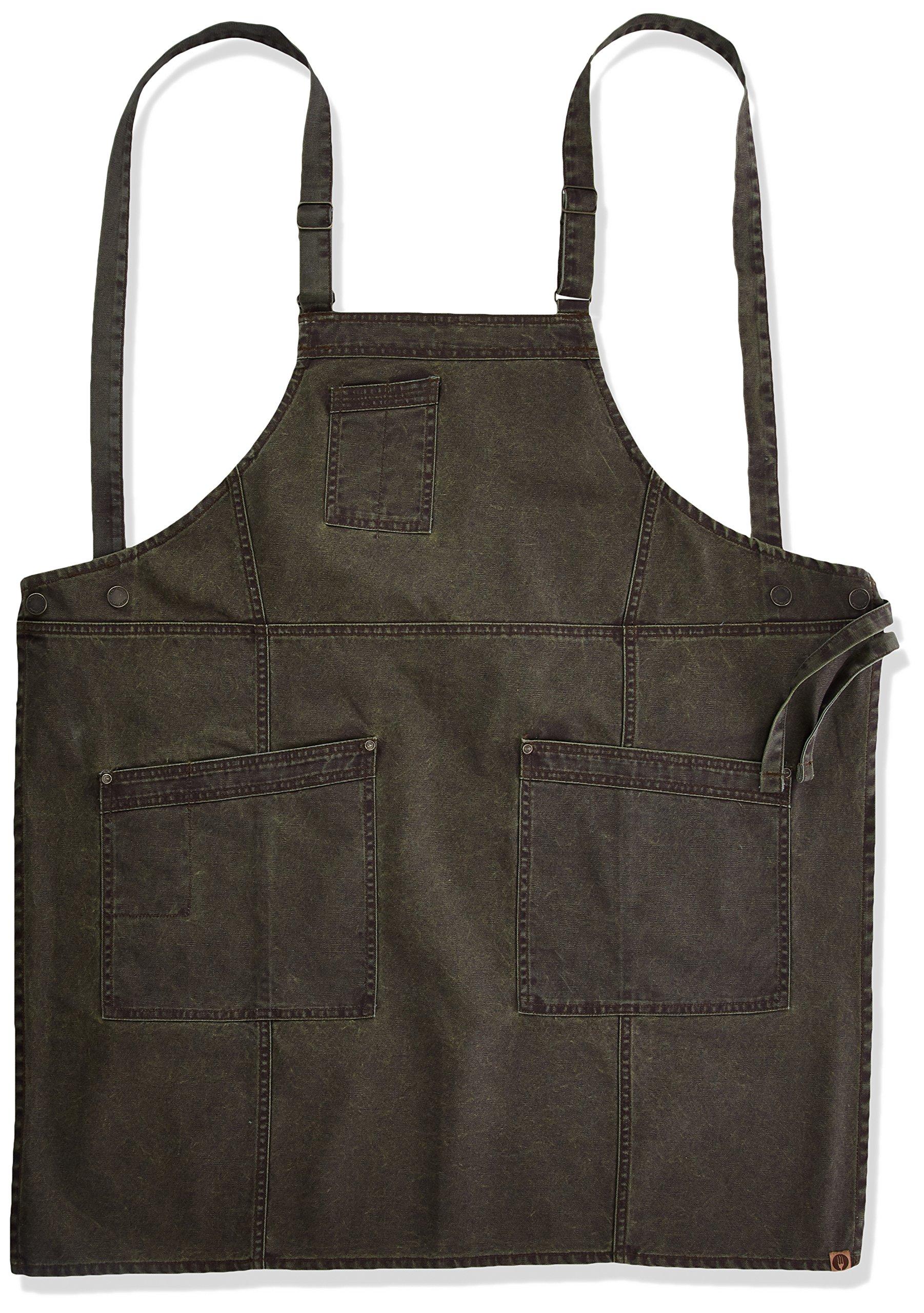 Chef Works Men's Denver Cross-Back Bib Apron, Olivewood, One Size