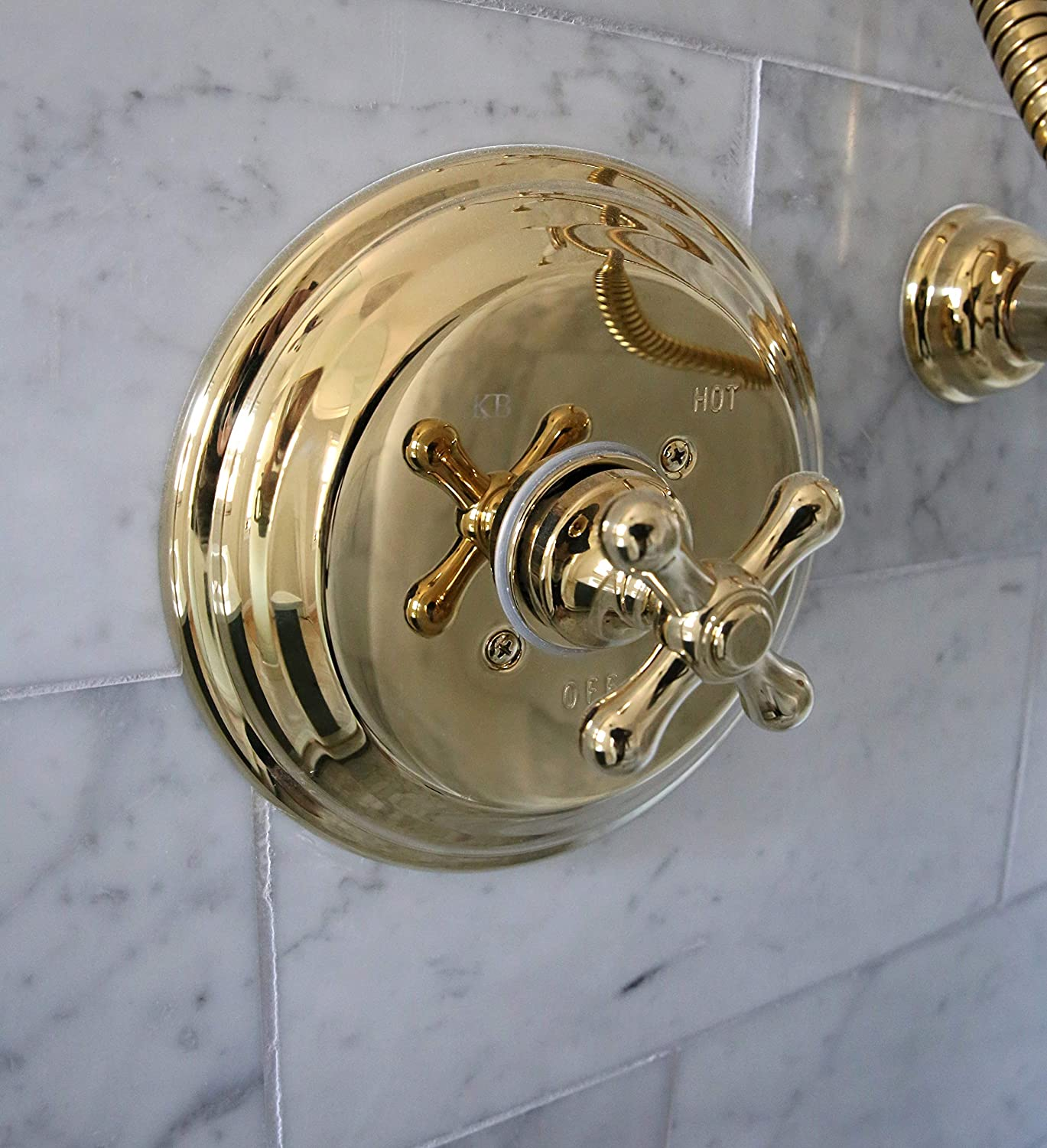 Polished Brass Kingston Brass KB3632AXSO Tub Faucet Shower Only