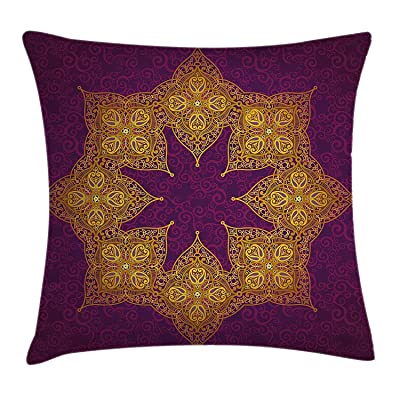fengyijiating Purple Throw Pillow Cushion Cover Traditional Mandala Moroccan Royal Colors Mystic Cosmos Symbol Ethnic Theme Print Decorative Square Accent Pillow Case 18 X 18 inch: Home & Kitchen